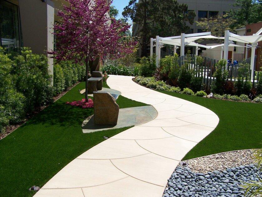 The gardens at Scripps Memorial Hospital, La Jolla, are designed to create a meditative Zen feeling.