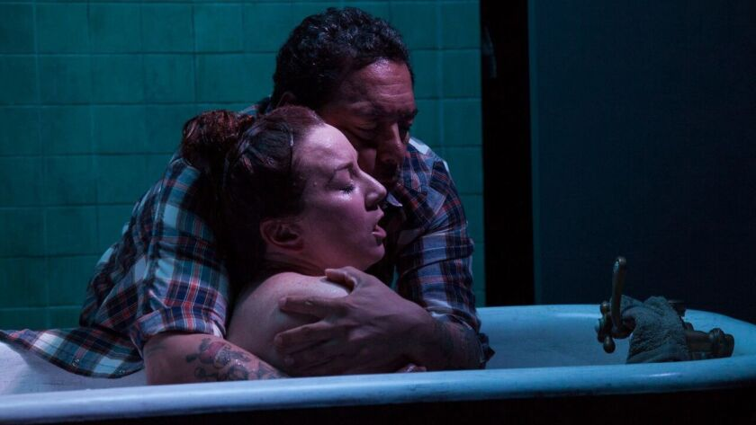 "Katy Sullivan and Felix Solis in ""Cost of Living"" at the Fountain Theatre."