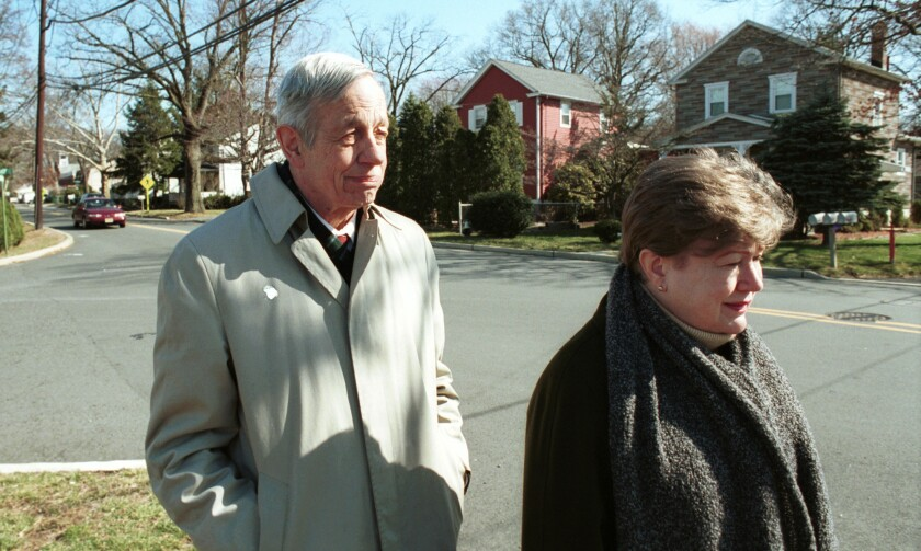 Nobel Prize-winning mathematician John Nash and his wife, Alicia, shown in 2002, were killed in a taxi crash on the New Jersey Turnpike on Saturday, police say.