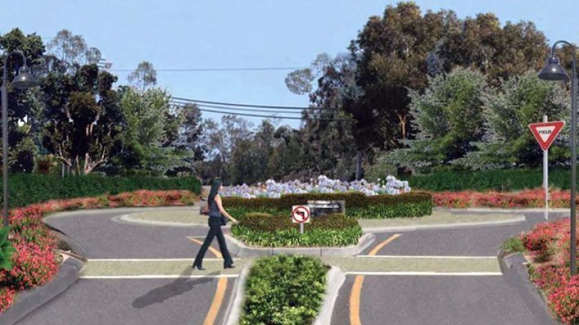 A rendering for one of the approved roundabouts on Del Dios Highway/Paseo Delicias.