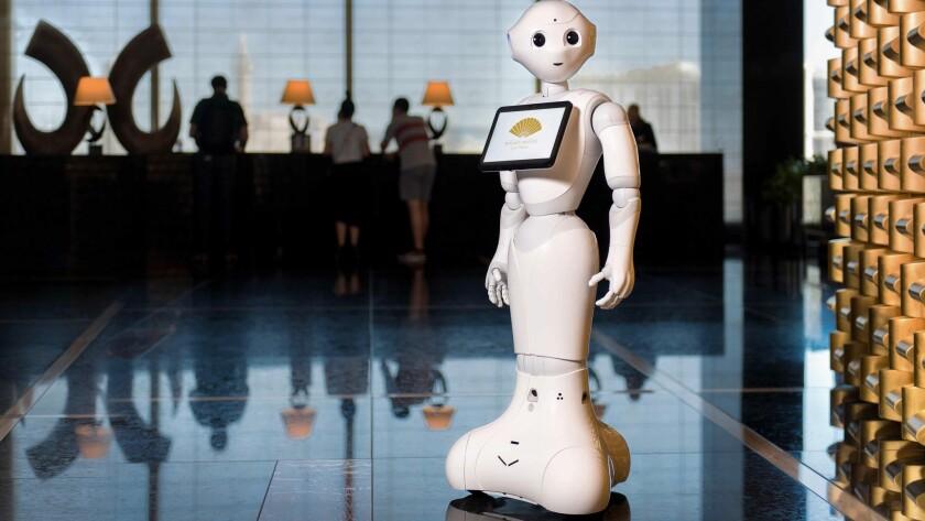Pepper - the humanoid bot - at the Mandarin Oriental, Las Vegas Sky Lobby
