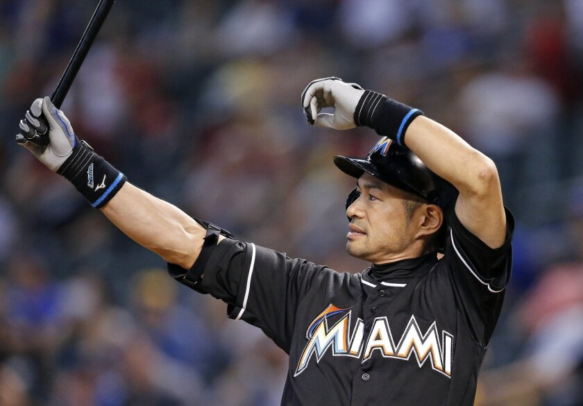 FILE - In this June 12, 2016, file photo, Miami Marlins' Ichiro Suzuki, of Japan, steps in to bat against the Arizona Diamondbacks during the ninth inning of a baseball game in Phoenix. The 42-year-old Miami player is chasing 3,000 hits in the majors. (AP Photo/Ross D. Franklin, File)