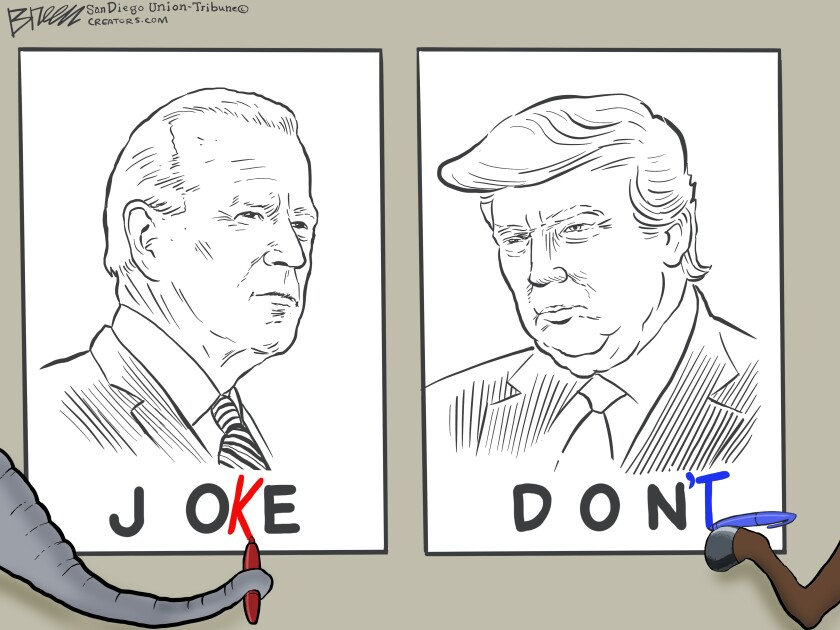 """In this Breen cartoon, Republicans call Biden a joke and Democrats say """"Don't"""" to voting for Trump"""
