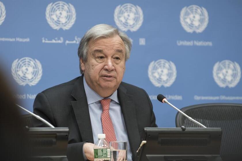 """El secretario general de la ONU, António Guterres, consideró hoy """"esencial"""" que los responsables de los crímenes cometidos contra la minoría rohinyá en Birmania rindan cuentas. EFE/Mark Garten/ONU/SOLO USO EDITORIAL/NO VENTAS"""