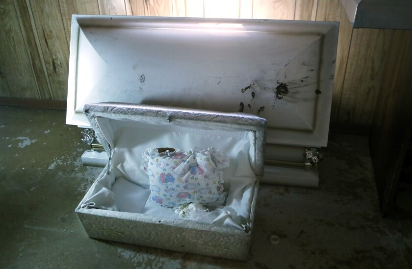 A small casket at the former Cantrell Funeral Home in Detroit, where nearly a dozen fetuses were discovered.
