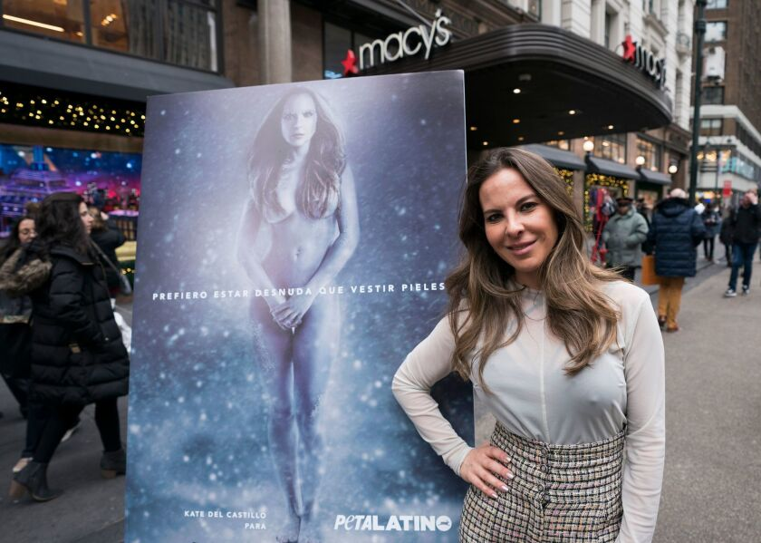 "Mexican actress Kate del Castillo poses for the unveiling of her new holiday shopping campaign for PETA, that proclaims, ""I'd Rather Go Naked Than Wear Fur,"" outside Macy's flagship store in Herald Square on December 12, 2017 in New York."