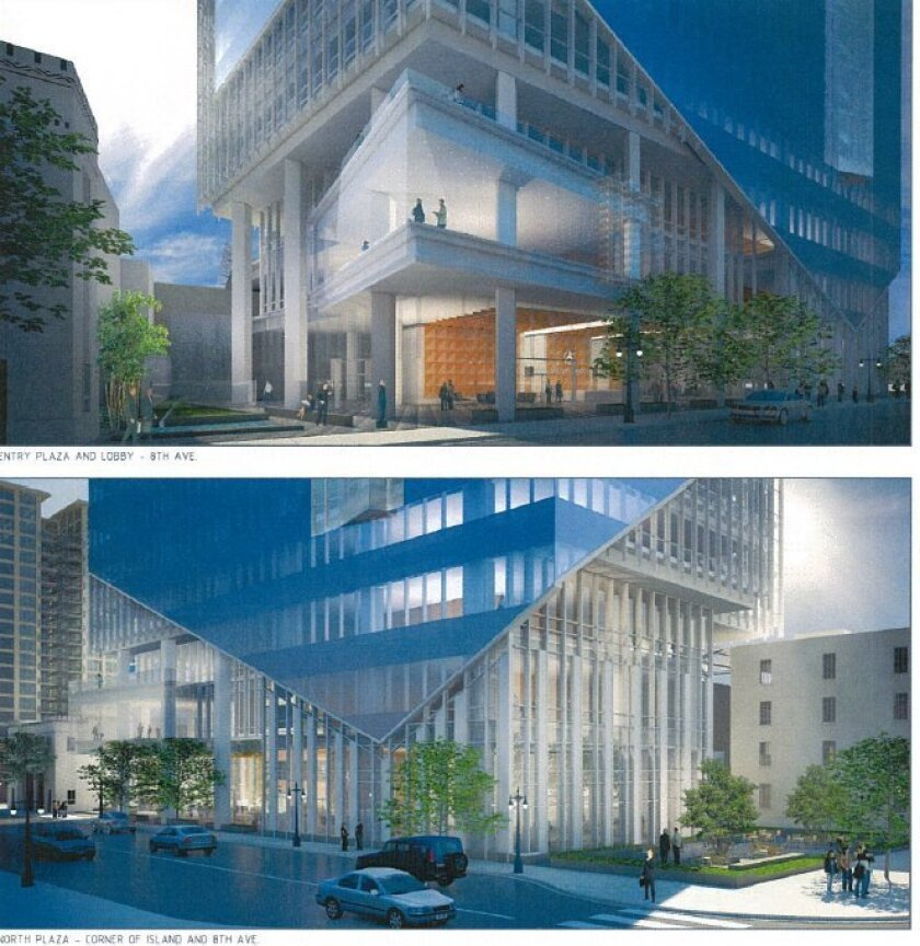 The street level of new Sempra headquarters would offer pedestrians a clear view into the lobby.