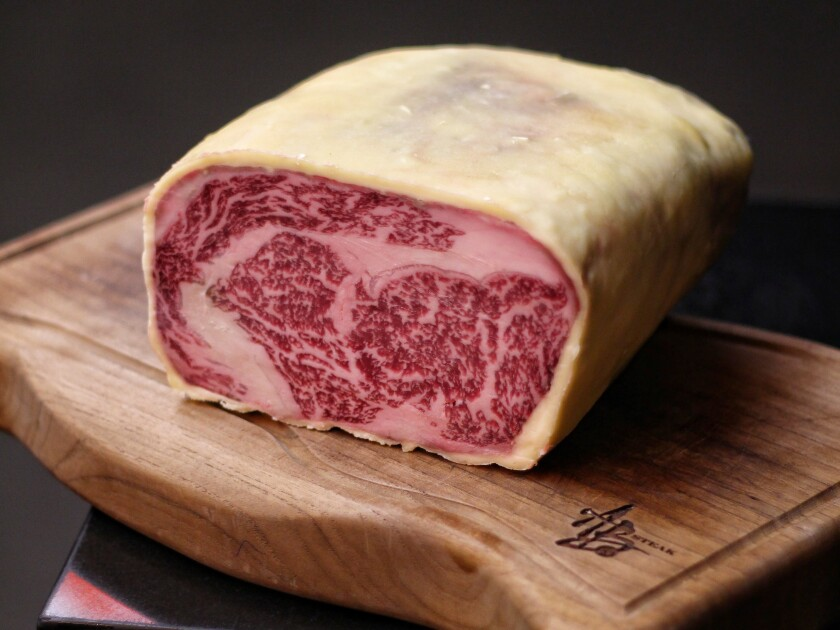 A 45-day Camembert aged ribeye from AB Steak