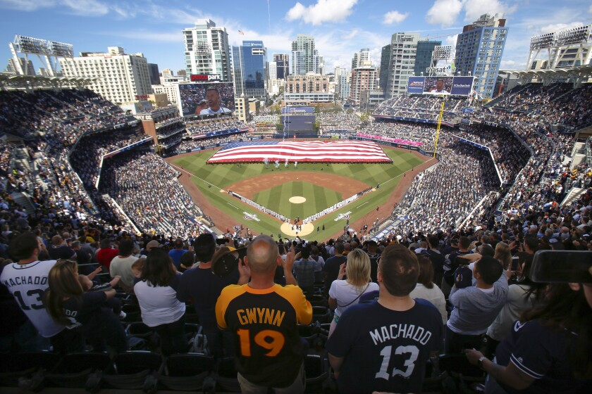 The view from the top of Petco Park as the Giants and Padres line up for pregame introductions on opening day.