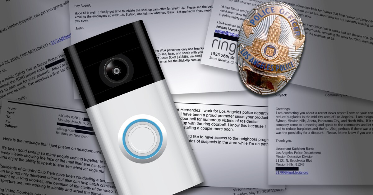 Ring gave LAPD officers free cameras, pushed product promos - Los Angeles Times