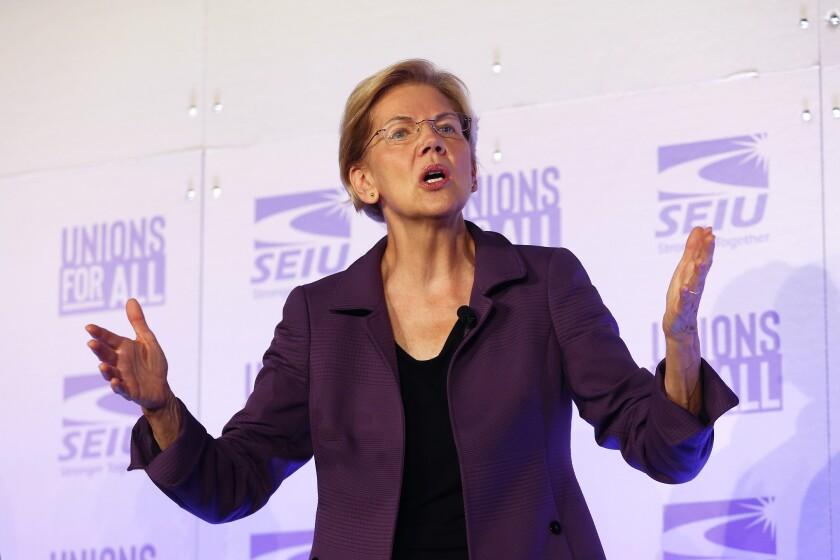Democratic presidential candidate Sen. Elizabeth Warren, D-Mass., speaks at the SEIU Unions For All Summit on Friday, Oct. 4, 2019, in Los Angeles. (AP Photo/Ringo H.W. Chiu)
