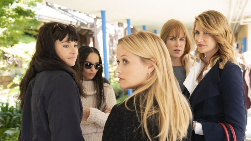 """Shailene Woodley from left, Zoë Kravitz, Reese Witherspoon, Nicole Kidman and Laura Dern in a scene from Season 2 of """"Big Little Lies."""""""