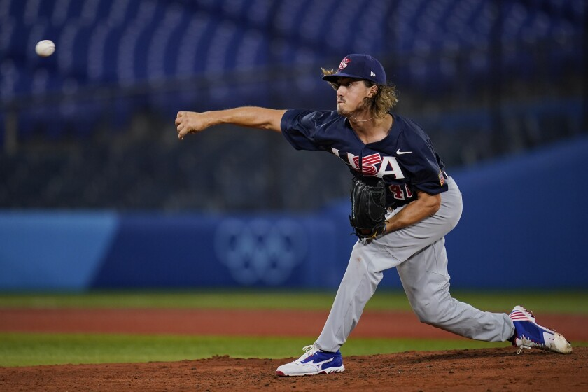 Joe Ryan of the U.S. pitches against Israel at the Tokyo Olympics.