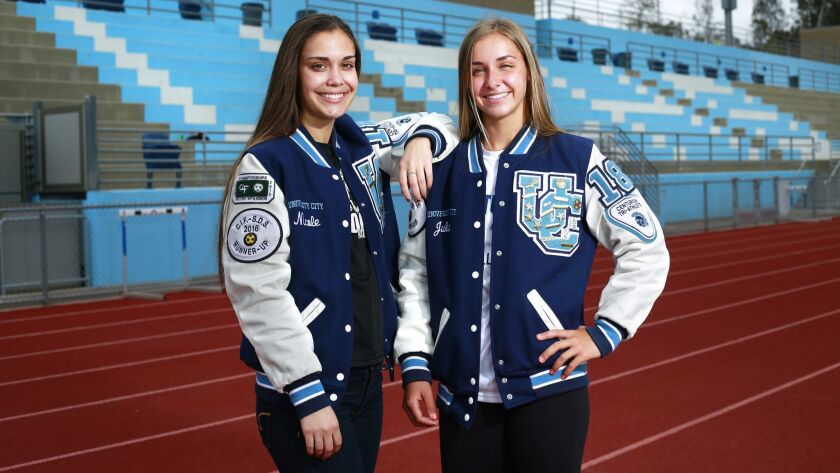 Nicole Cowell (left) is headed for USD to study teaching. Twin Julia Cowell will attend UC Irvine to study nursing.