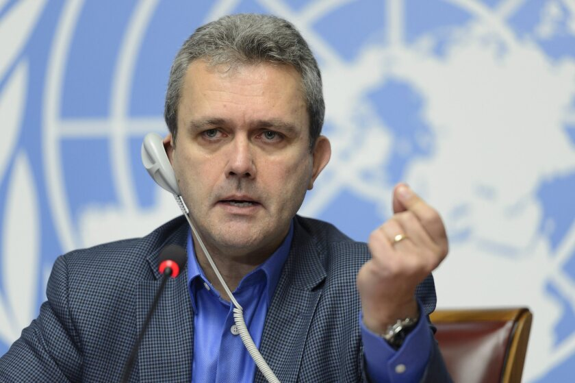 Rick Brennan, the World Health Organization's director of emergency risk management and humanitarian response, speaks about Ebola at the United Nations in Geneva.