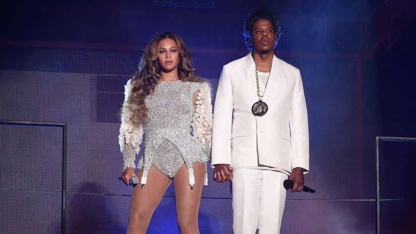 """Beyoncé and Jay-Z, performing last month at the Rose Bowl, have an album, """"Everything Is Love,"""" eligible for the 61st Grammy Awards."""
