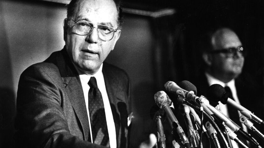 Lyndon La Rouche speaks at a news conference in 1988. MUST CREDIT: Washington Post photo by Joel Ric