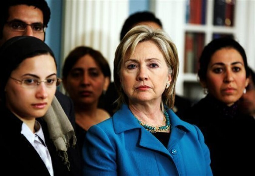 Secretary of State Hillary Rodham Clinton listens to a reporter's question during her meeting with visiting Egyptian democracy activists, Thursday, May 28, 2009, at the State Department in Washington.  (AP Photo/Manuel Balce Ceneta)