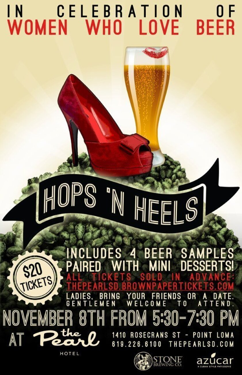 The Pearl Hotel in Point Loma will host Hops 'N Heels on Thursday, Nov. 8.