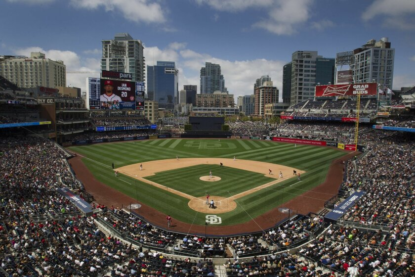 The view at Petco Park this season includes the new scoreboard in left field and, beyond center field, the new, 16-story Sempra Energy building.