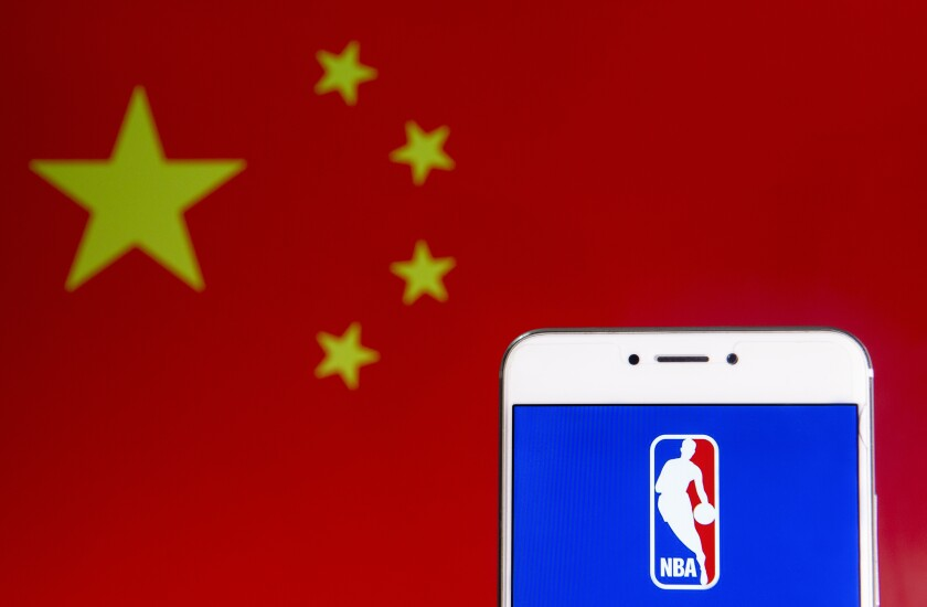 China flag and NBA logo