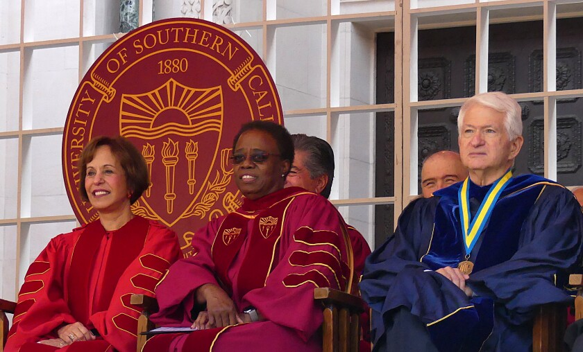 USC President Carol Folt, left, with interim president Wanda Austin and UCLA chancellor Gene Block.