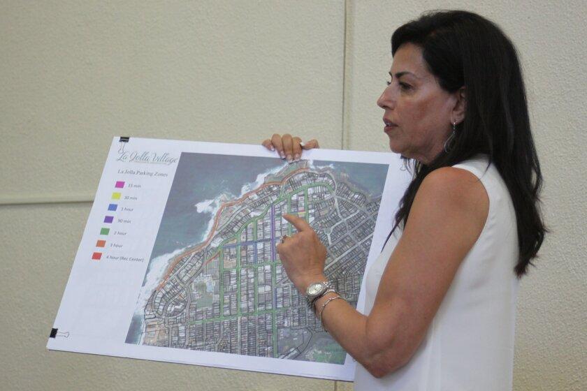 La Jolla Coastal Access & Parking Board chair Deborah Marengo argues for standardized parking time limits throughout the Village.
