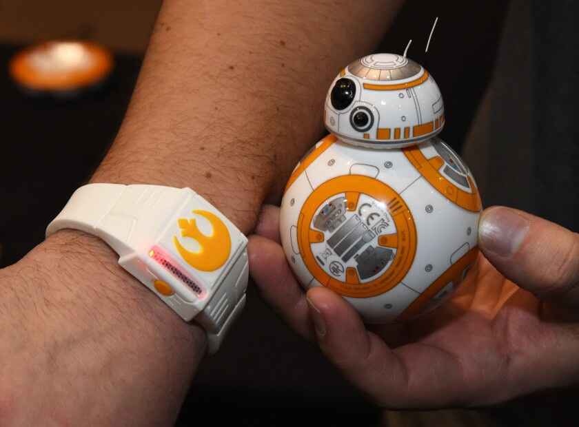 Sphero's BB-8 technical prototype robot and Force Band are displayed at the 2016 Consumer Electronics Show in Las Vegas.