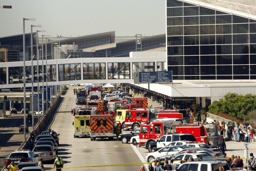 A Transportation Security Administration agent was shot and several other people were wounded when a gunman opened fire in a Los Angeles International Airport terminal on Nov. 1, 2013.