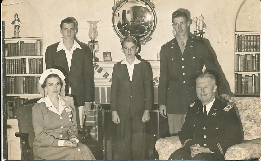 Marnie and Col. William Stewart (seated) pose with Ray, Stan and Bill in 1942 in their newly purchased Barber Tract home.