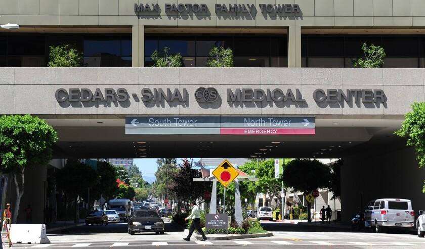 A pedestrian crossing at Cedars-Sinai Medical Center in Los Angeles.