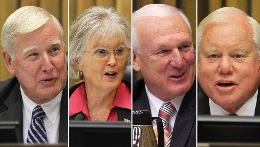 From left, San Diego County Supervisors Greg Cox, Diane Jacob, Ron Roberts and Bill Horn.