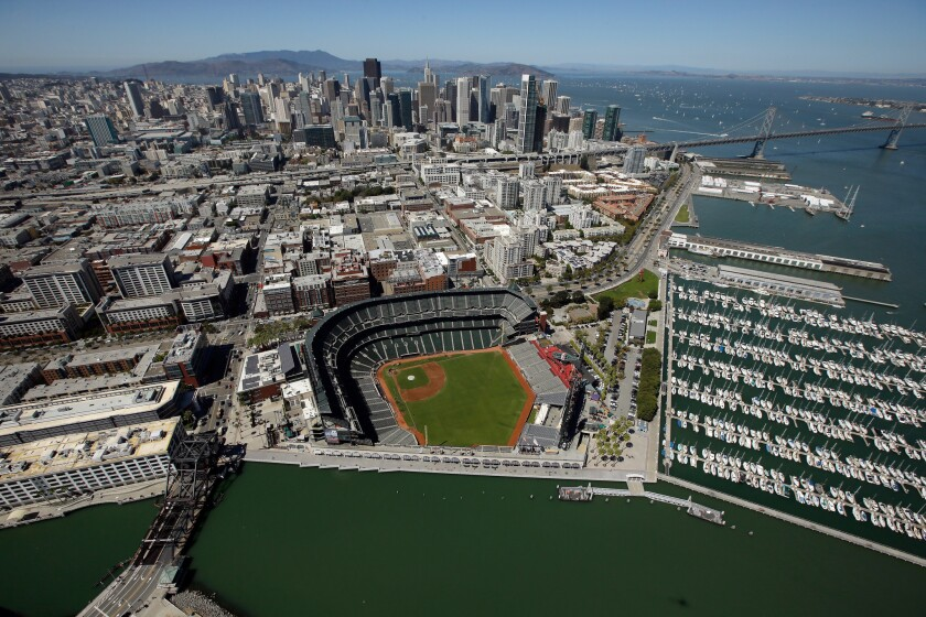 Aerial view of AT&T Park