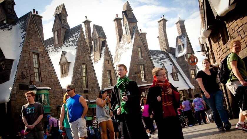 Visitors explore the new Wizarding World of Harry Potter at Universal Studios Hollywood.