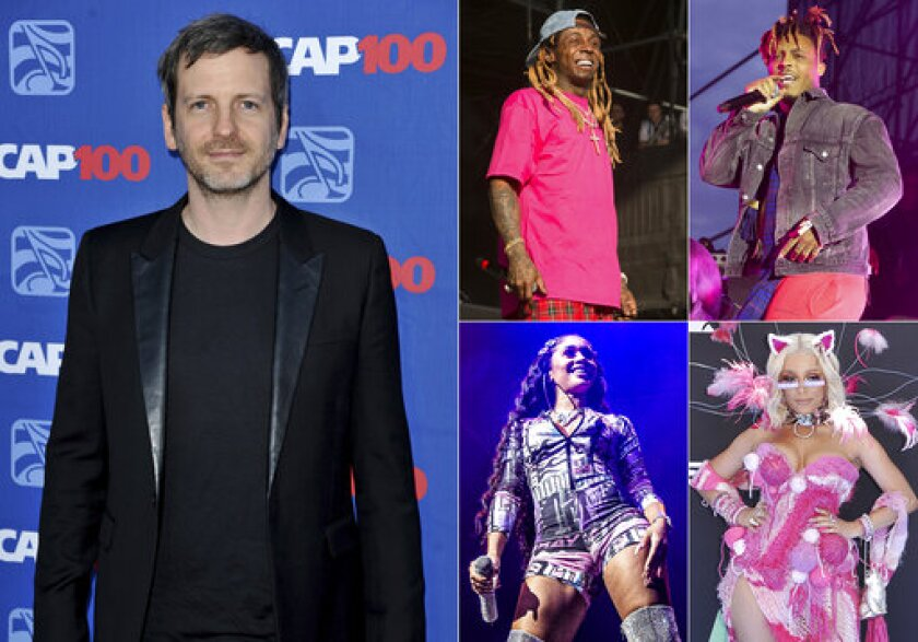"""This combination photo shows, clockwise from left, music producer Dr. Luke, and performers, Lil Wayne, Juice WRLD, Doja Cat and Saweetie. Dr. Luke, who has been entangled in a bitter lawsuit with former collaborator Kesha since 2014, has produced and co-written Saweetie's new single """"Tap In,"""" the follow-up to her double-platinum smash """"My Type."""" He also co-wrote and co-produced Juice WRLD's """"Wishing Well,"""" taken from the rapper's first posthumous album """"Legends Never Die,"""" released last week. For his work with Cat, he used the alias Tyson Trax. For Lil Wayne's """"Shimmy,"""" a track featuring Cat on the deluxe edition of his latest album """"Funeral,"""" Dr. Luke used the name Loctor Duke. (AP Photo)"""