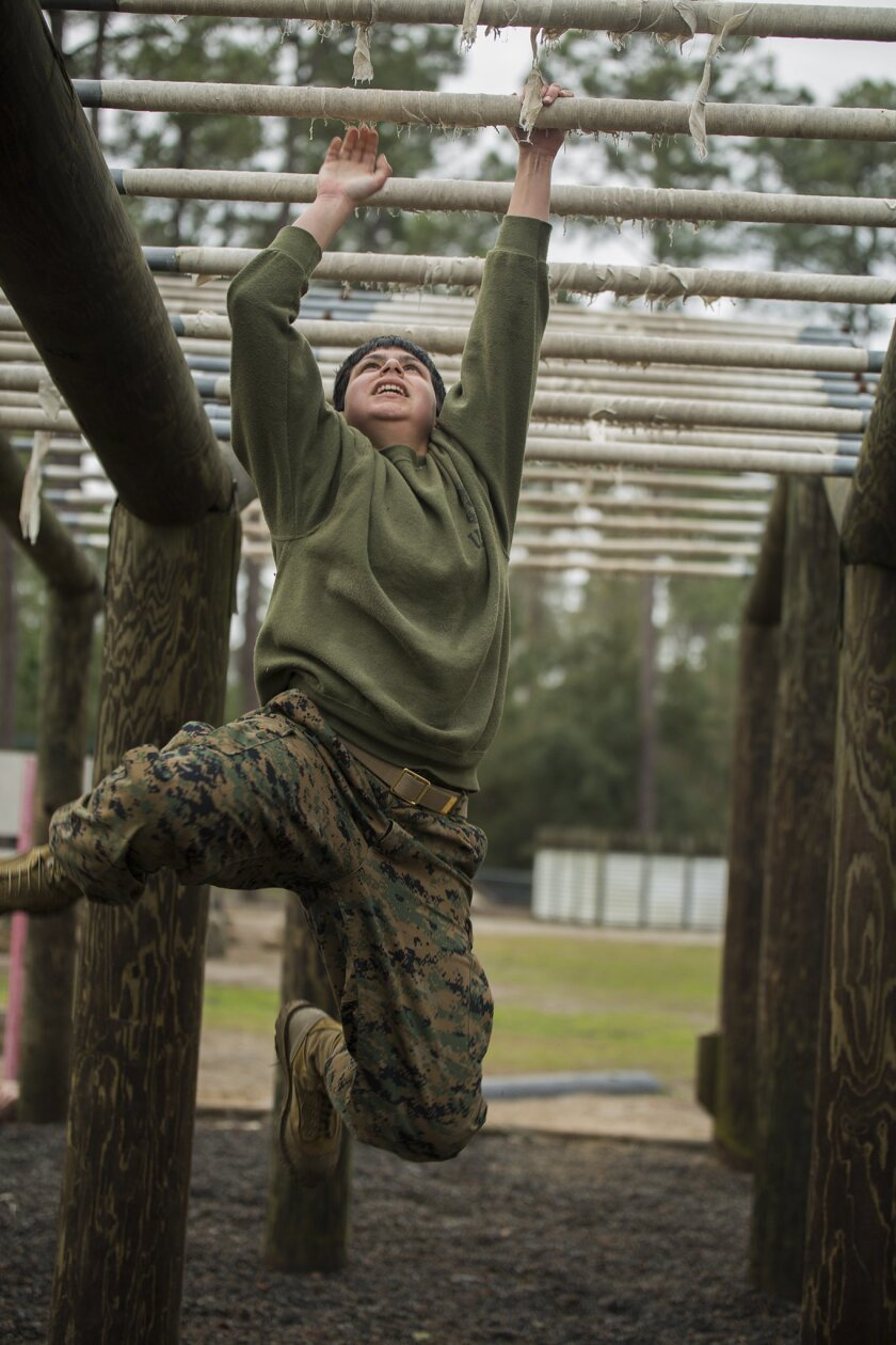All women who enlist in the Marine Corps are trained in one all-female battalion at Parris Island, S.C. (USMC photo/released)