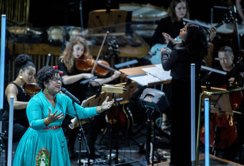 "As part of LA Phil's Fluxus festival, La Marisoul performs Yoko Ono's ""Born in a Prison"" in a progra"
