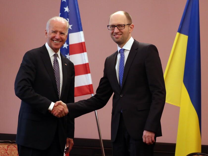 Joe Biden and Arseniy Yatsenyuk