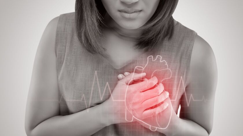 The women has heart disease and go to hospital urgent. People with heart problem concept