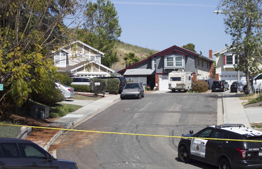 A view up the cul-de-sac in the Rancho Peñasquitos neighborhood of San Diego where the house thought to be the home of 19 year-old John Earnest, is located. Earnest is a suspect in the shooting of four people in a Poway synagogue, killing one, on Saturday April 27, 2019 in San Diego, California. The house is on a cul-de-sac in the Rancho Peñasquitos neighborhood in the north part of the city.-