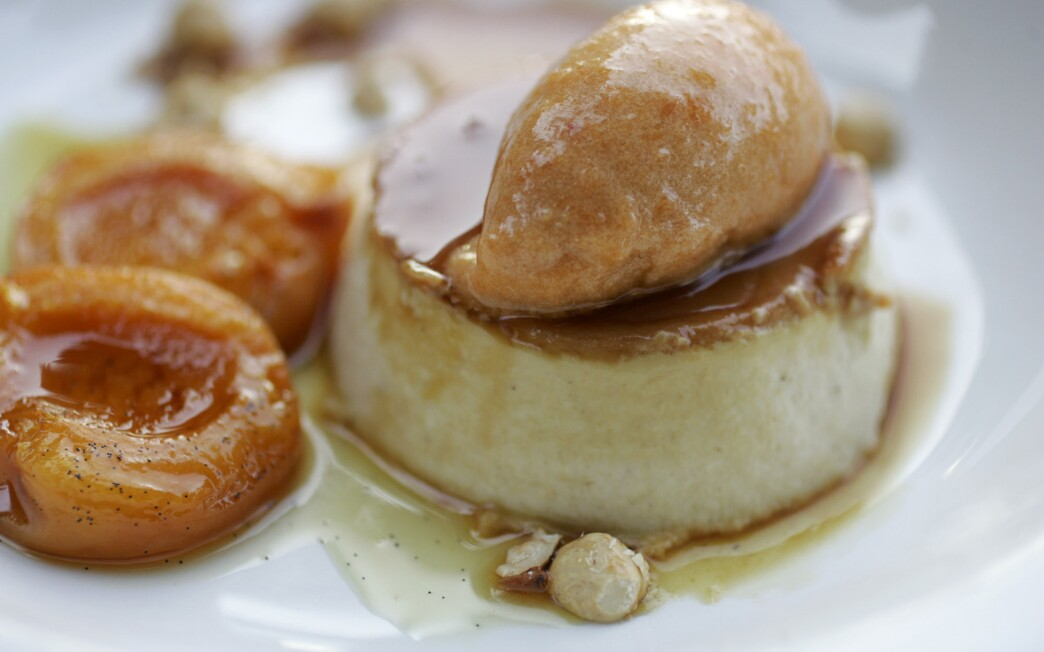 Hazelnut flan with roasted apricots and roasted apricot sorbet