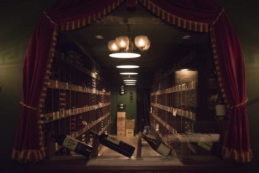 LOS ANGELES CA JUNE 22, 2018 -- A window looking into the wine cellar at the Pacific Dining Car ear