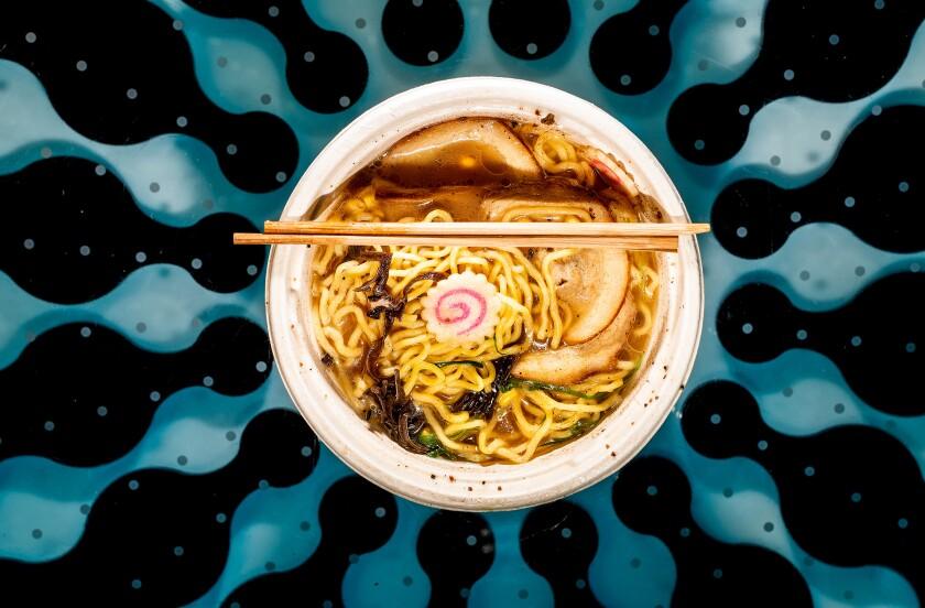 A bowl of ramen dispensed by a Yo-Kai Express vending machine at San Francisco International Airport.