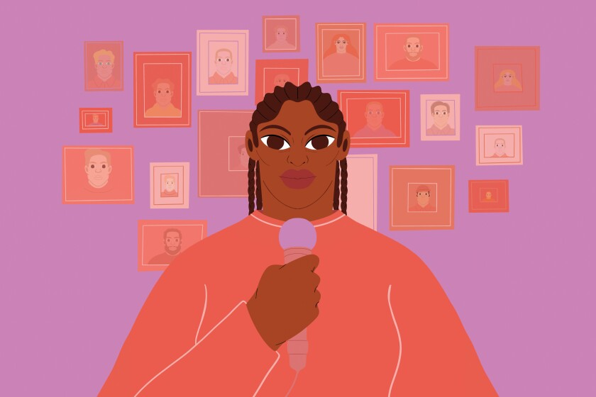 Illustration of a Black woman standing in front of a wall of picture frames of white people