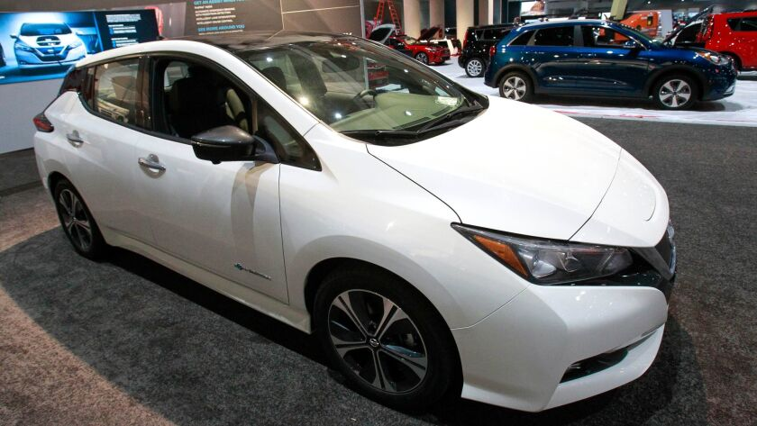 SAN DIEGO, December 27, 2017 | A newly redesigned 2018 Nisson Leaf electric vehicle on display befor