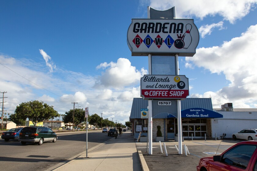 Exterior of Gardena Bowl with large sign on Vermont Avenue.