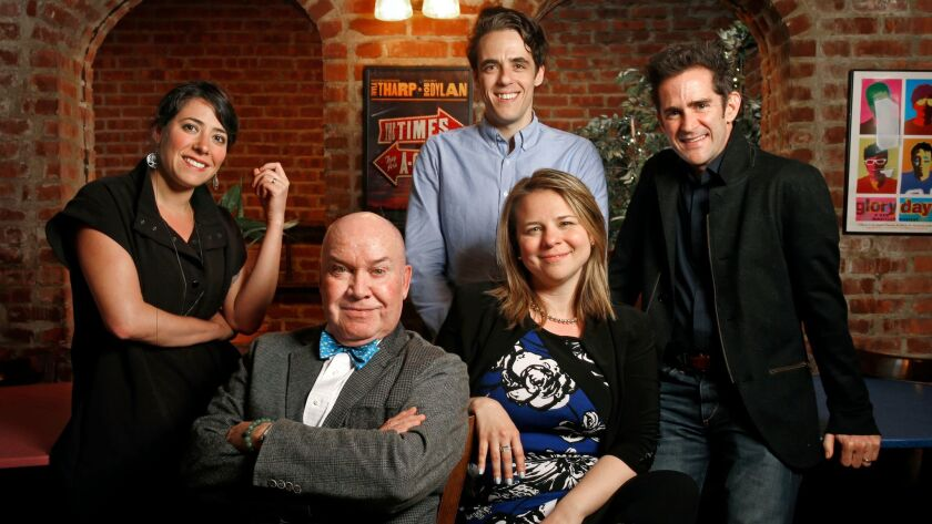 """Minds behind Broadway's new musicals, from left: Rachel Chavkin (""""Natasha, Pierre & the Great Comet of 1812""""), Jack O'Brien (""""Charlie and the Chocolate Factory""""), Steven Levenson (""""Dear Evan Hansen""""), Irene Sankoff (""""Come From Away"""") and Andy Blankenbuehler (""""Bandstand"""")."""