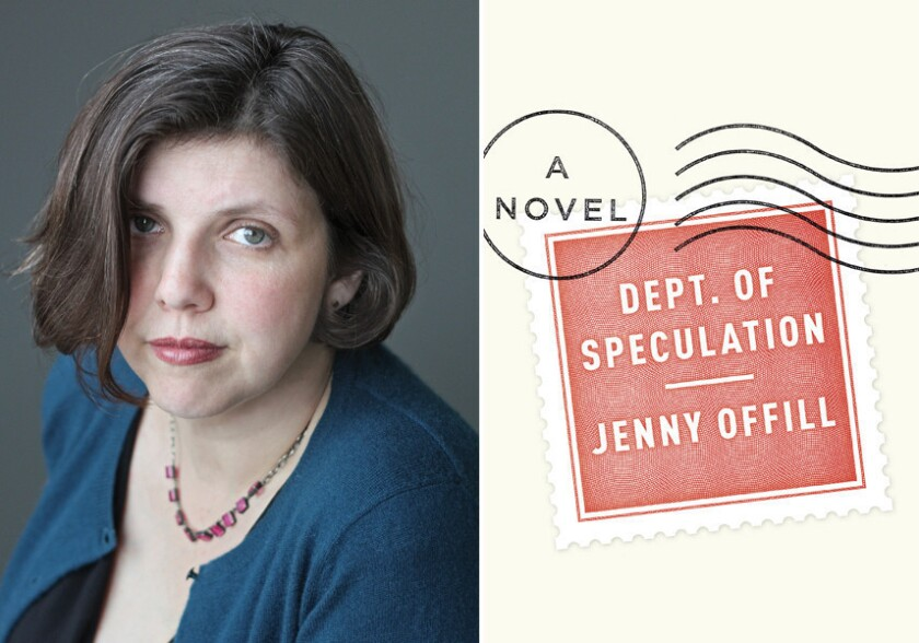 """Author Jenny Offill and the cover of her book, """"Dept. of Speculation."""""""