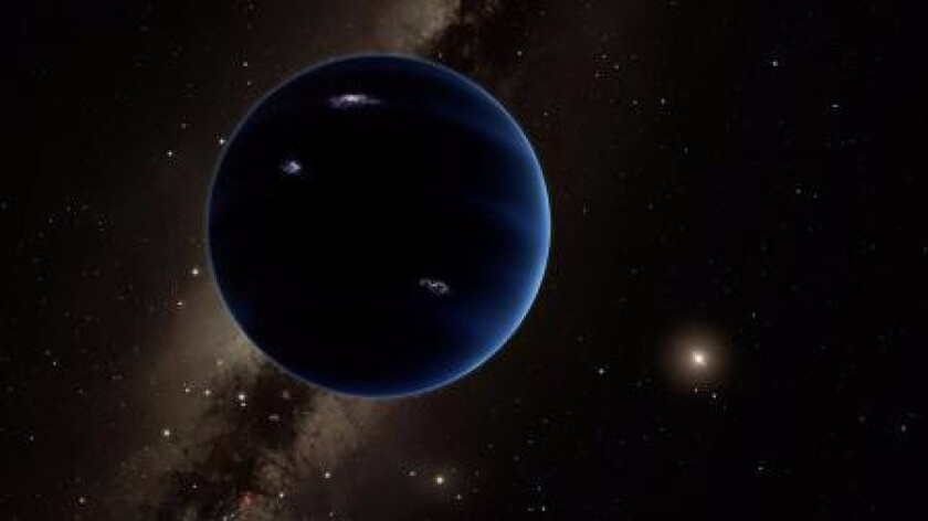 This artist's rendering imagines Planet Nine with the distant sun at right. The planet is thought to be gaseous, similar to Uranus and Neptune.