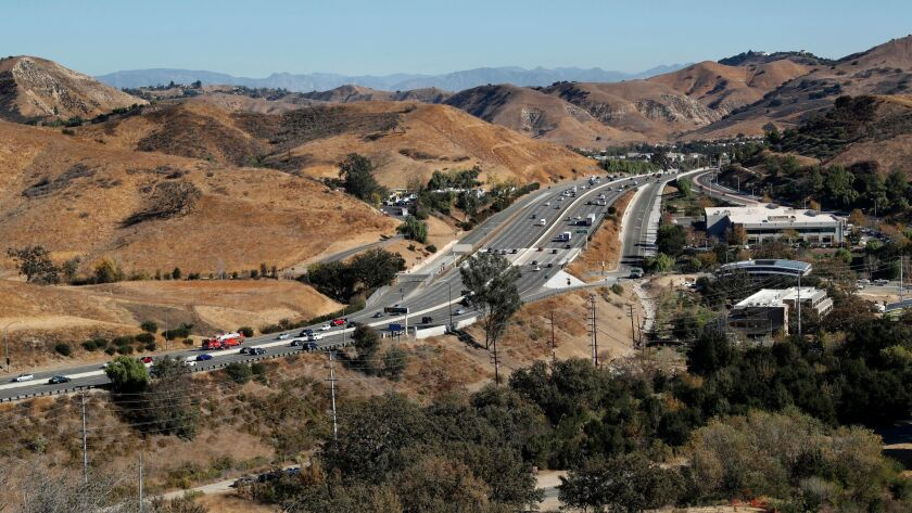 AGOURA, CA-DECEMBER 14, 2017: Overall, shows the 101 freeway near the Liberty Canyon exit in Agoura